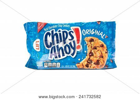 April 10th, 2018: Conceptual Editorial Of Chips Ahoy Cookies On White Background