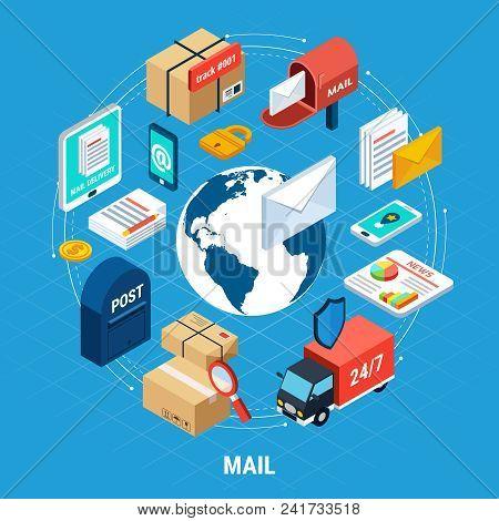Mail Isometric Round Composition With Isolated Icon Set Combined In Big Circle On Mail Theme Vector