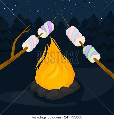 Flame fire background. Fiery and wooden matches logs and bonfire in forest vector illustration. Bonfire with marshmallow - camping, burning woodpile. poster