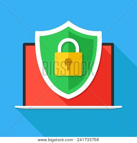 Computer Security, Secure Internet Connection, Firewall, Data Protection Concepts. Laptop And Securi