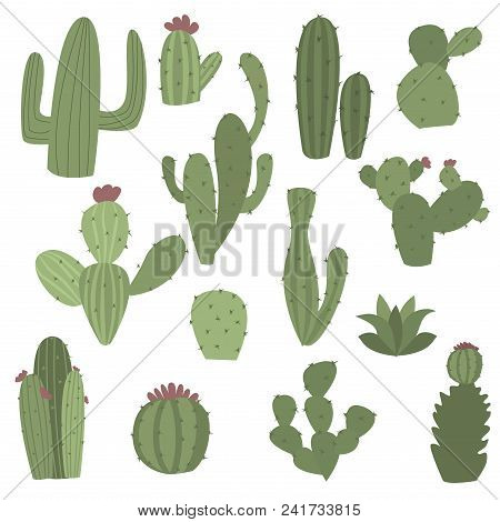 Cactus Icons In Flat Handrawn Style On White Background Vector Illustration. Home Plants Cactus With