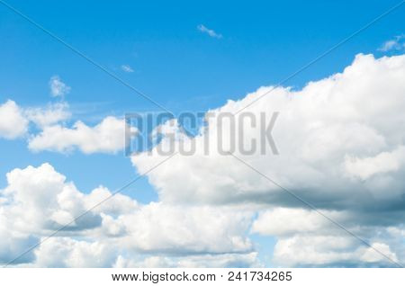 Sky Landscape With Blue Sky And White Dramatic Clouds. Colorful Sky Background