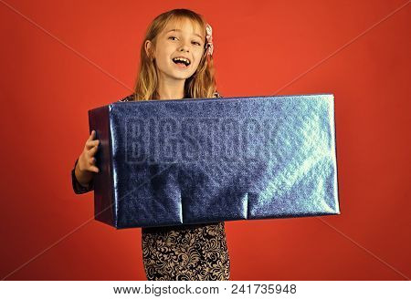 Child Childhood Children Happiness Concept. Child Girl With Present Pack, Cyber Monday. Small Girl W