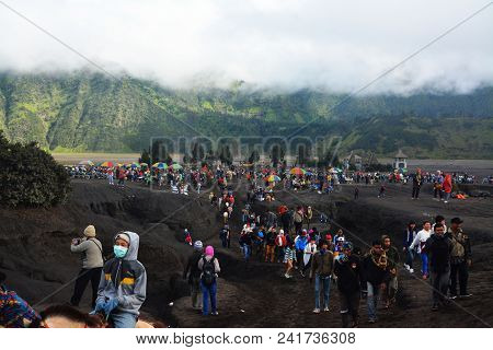 East Java - Indonesia. December 11, 2016. Visitors Bromo Mountain Climb To Bromo Crater In East Java