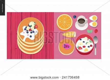 Simple Things - Meal - Flat Cartoon Vector Illustration Of Set Of Breakfast Meal With Coffee, Fruits