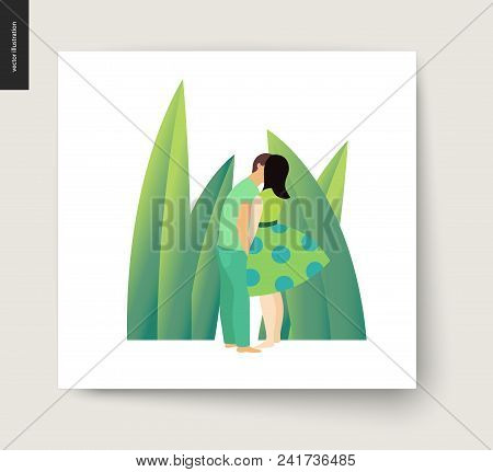 Kissing Scene - Flat Cartoon Vector Illustration Of Young Couple, Boyfriend And Girlfriend, Kissing