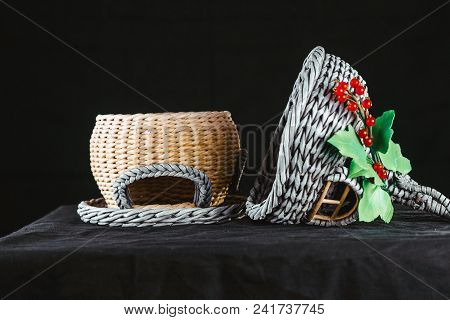 Tiny Wicker Paper House On Black Background
