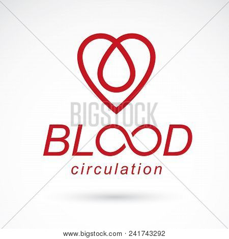 Vector red heart with blood circulation inscription. Blood transfusion metaphor, medical care emblem for use in pharmacy. poster