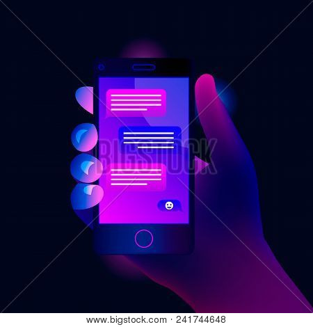 Mobile Phone Chat Message Notifications. Concept Of Online Talking, Speak, Conversation, Dialog. The