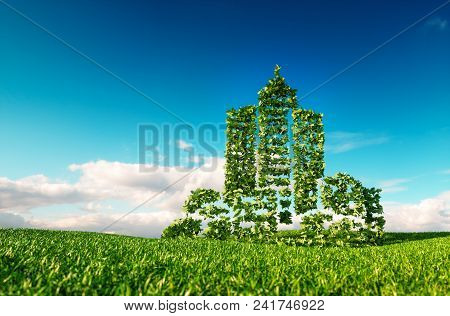 Eco Friendly City Concept. 3d Rendering Of City Shape Sign On Fresh Spring Meadow With Blue Sky In B