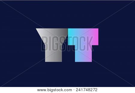 Initial Alphabet Letter Yt Y T Logo Combination In Pink Blue And Grey Colors Suitable For Business A