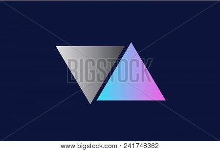 Initial Alphabet Letter Va V A Logo Combination In Pink Blue And Grey Colors Suitable For Business A