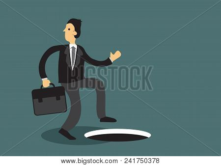 Distracted Business Professional Unaware Man Hole In The Ground. Cartoon Vector Illustration On Conc