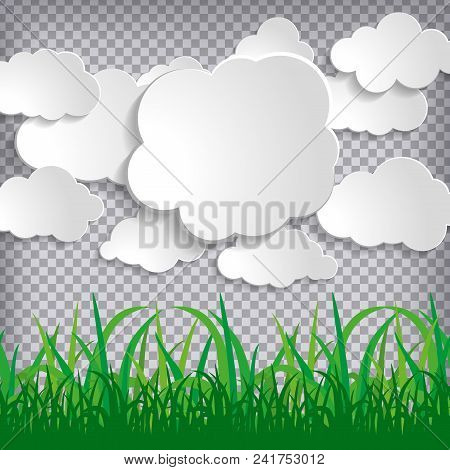 White Paper Sticky Clouds Collection With Green Grass Silhouettes On Chequered Background