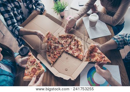 Top View Portrait Of Cropped People Taking, Holding Slices Of Pizza, Group Of Friends Sharing Pizza