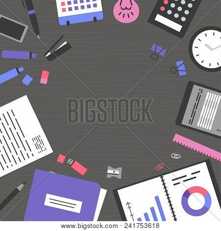Banner Workplace Collection Concept Office Items, Equipment, And Mobile Devices On Dark Desk, Flat D