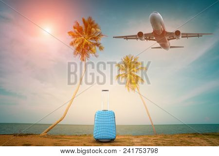 Passenger Airplane And Tropical Palm On A Paradise Island, Palm Leaves With Party On Beach Backgroun