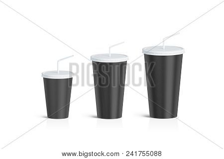 Blank Black Disposable Cup Straw Mock Up Set Isolated, 3d Rendering. Empty Paper Soda Drinking Mug M