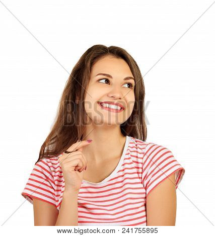 embarrassed young woman laughs. emotional girl isolated on white background. poster