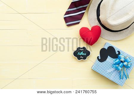 Happy Fathers Day Concept. Red Tie, Glasses, Hat, Mustache, Gift Box With Happy Father's Day Text An