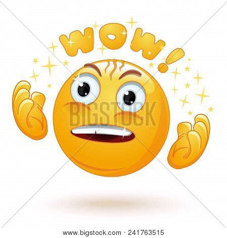 Cute Enraptured Emotions Emoji. Emoticon Face Surprised. Emoji Excited With Admiring Look And Googly