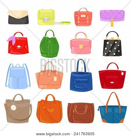 Woman Bag Vector Girls Handbag Or Purse And Shopping-bag Or Clutch From Fashion Store Illustration B