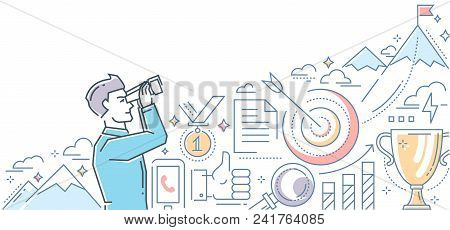 Ambitious Goals - Line Design Style Illustration On White Background. Colorful Composition With A Bu
