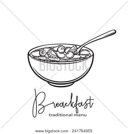 Flakes With Milk And Berries. Hand Draw Monochrome Icon Breakfast. Vector Illustration With Linear I