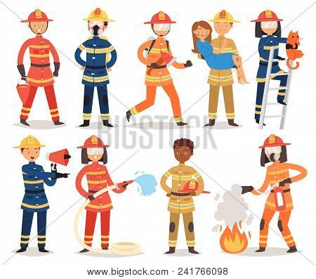 Firefighter Vector Cartoon Fireman Character Firefighting Fire With Firehose Hydrant And Fire Exting