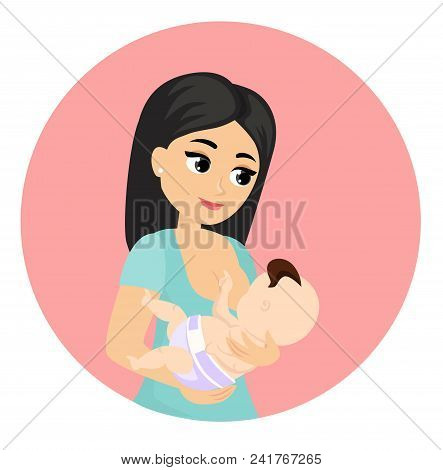 Vector Illustration Of Mother Feeds Baby With Breast, Breastfeeding Position. Cute Cartoon Character