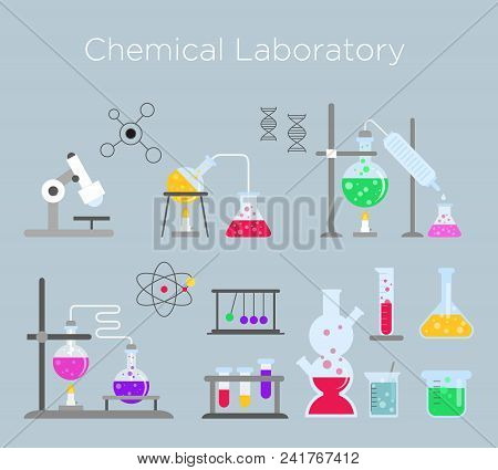 Vector Illustration Set Of Chemical Laboratory Equipment. Chemical Glass With Various Chemical Solut