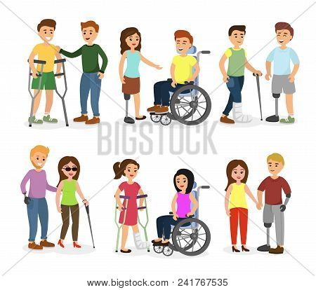Vector Illustration Set Of Disabled People And Friends Helping Them, Talking, Walking And Smiling Ha