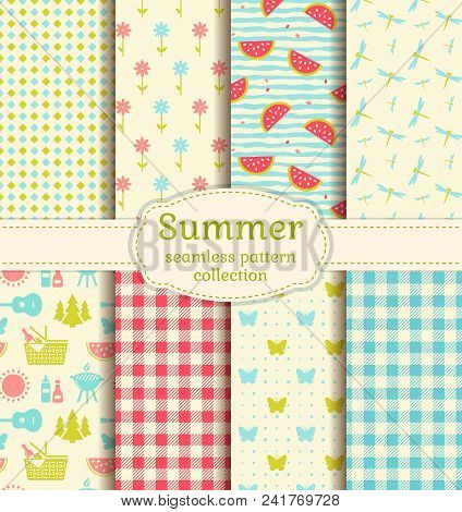 Seamless Patterns With Checkered Blanket, Watermelons, Butterflies, Flowers, Dragonflies And Picnic