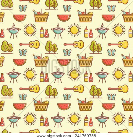Seamless Picnic Pattern With Watermelons, Butterflies, Barbecue Grill, Sun, Trees, Guitars, Baskets