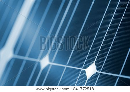 Clean Energy Concept, Solar Panel Detail As Abstract Background For Renewable Energy Resources