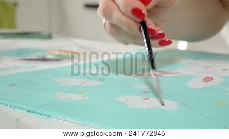 Woman Paint With Colored Brush. Games With Children Affect The Development Of Early Children. 4k