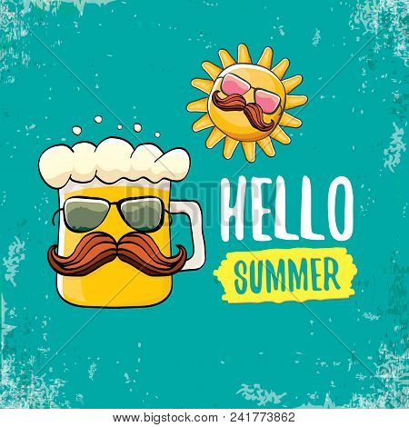 Vector Cartoon Funky Beer Glass Character And Summer Sun Isolated On Azure Background. Hello Summer