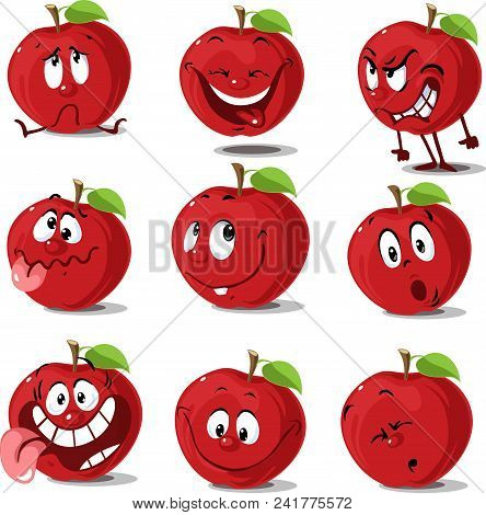 Apple Set  Flat Design Cute Cartoon  Vector Illustration Character Isolated