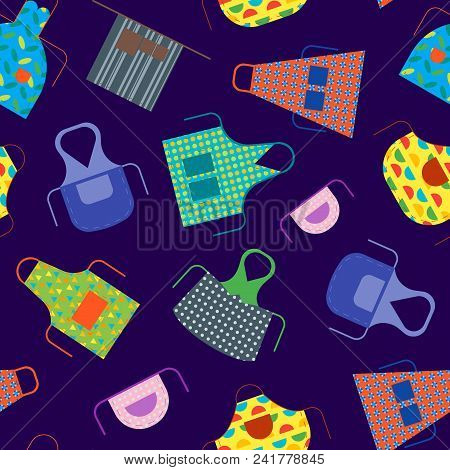 Cartoon Cooking Aprons Seamless Pattern Background Kitchen Clothing Protective Uniform. Vector Illus