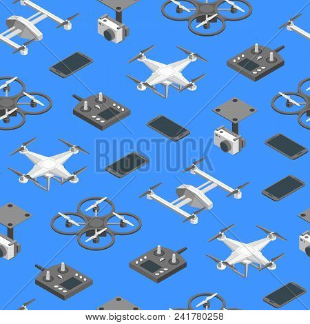 Quadcopter And Equipment Technology Control Seamless Pattern Background Isometric View Professional