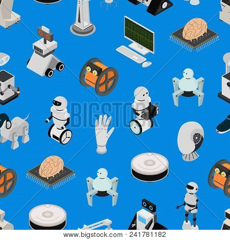 Smart Technologies Devices Seamless Pattern Background Isometric View On A Blue Innovation Futuristi