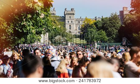 Windsor, Berkshire, United Kingdom - May 19, 2018: Thousands In Front Of Windsor Castle During Royal