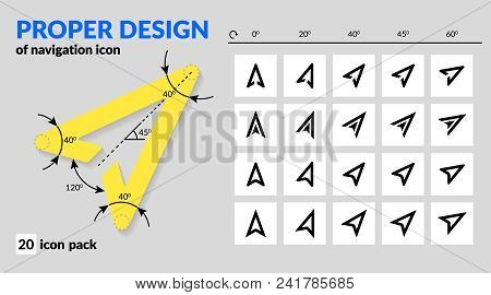 Navigation Icon Set Proper Design For Map And Route Navigation In Mobile App And Web. Various Types