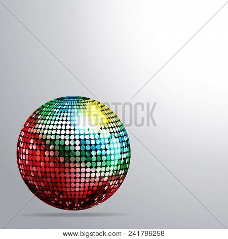 3d Illustration Of A Multicoloured Disco Ball With Shadow Over White Background