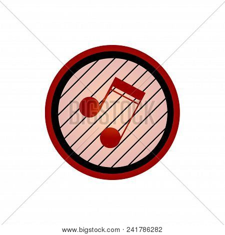 Logo Crest With Red Music Note In A Black And Red Circle With Black Lines Over White Background