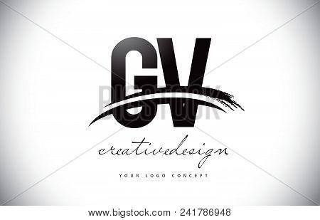Gv G V Letter Logo Design With Swoosh And Black Brush Stroke. Modern Creative Brush Stroke Letters V