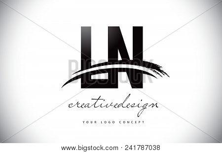 Ln L N Letter Logo Design With Swoosh And Black Brush Stroke. Modern Creative Brush Stroke Letters V