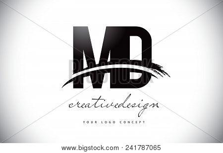Md M D Letter Logo Design With Swoosh And Black Brush Stroke. Modern Creative Brush Stroke Letters V