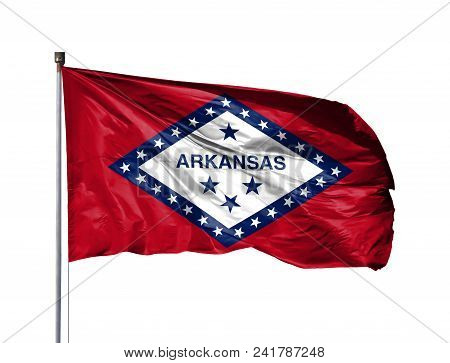 Flag Of State Of Arkansas On A Flagpole, Isolated On White Background.