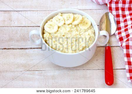 Millet Porridge With Banana Closeup